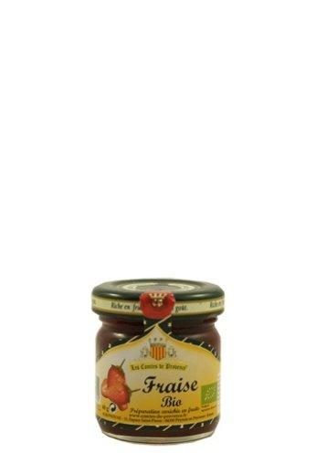 Les Comtes de Provence Traditionele Bio Aardbeien jam 40 gr van Les Comtes de Provence.