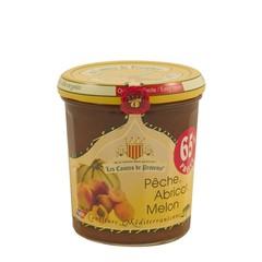 Les Comtes de Provence Mediterrane jam van perziken, abrikozen en meloen jam 340 gr.
