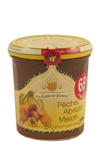 Les Comtes de Provence Mediterrane jam van perziken, abrikozen en meloen 340 gr, Les Comtes de Provence