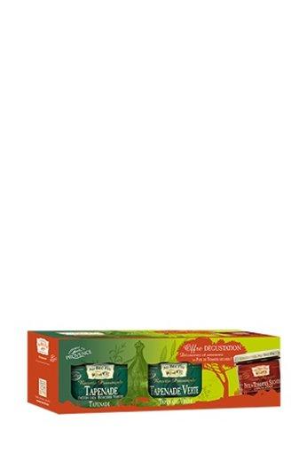 Au Bec Fin Set van 3 potjes: zwarte en groene tapenade en crème van gedroogde tomaten van Au-Bec-Fin