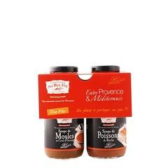 Au Bec Fin Duo van soep: Vissoep en Mosselsoep à 250 ml