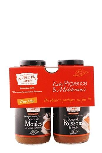 Au Bec Fin Duo van soep : Vissoep en Mosselsoep (Soupe de Poissons de Roche en Soupe de Moules) à 250 ml van Au-Bec-Fin