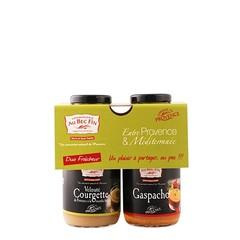 Au Bec Fin Duo van soep: Gaspacho en Velouté Courgette met verse munt à 250 ml