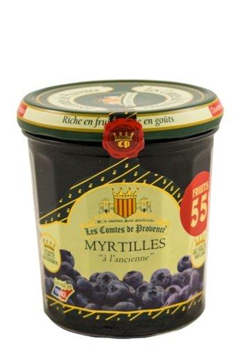 Les Comtes de Provence Franse jam van Bosbessen 370 gr.( Confiture Myrtilles) Les Comtes de Provence