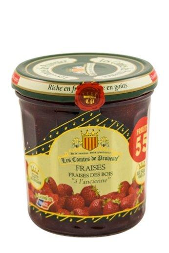 Les Comtes de Provence Franse jam van bosaardbeien 370 gr.( Confiture Fraises des bois) Les Comtes de Provence.