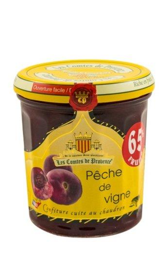 Les Comtes de Provence Mediterrane jam van rode perzik 340 gr.( Confiture Pêche de Vigne) Les Comtes de Provence