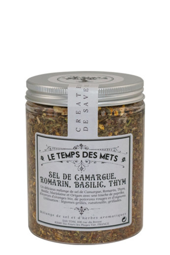 Le Temps des Mets Camarque zout met rozemarijn, basilicum en thym 120 gr van Le Temps des Mets