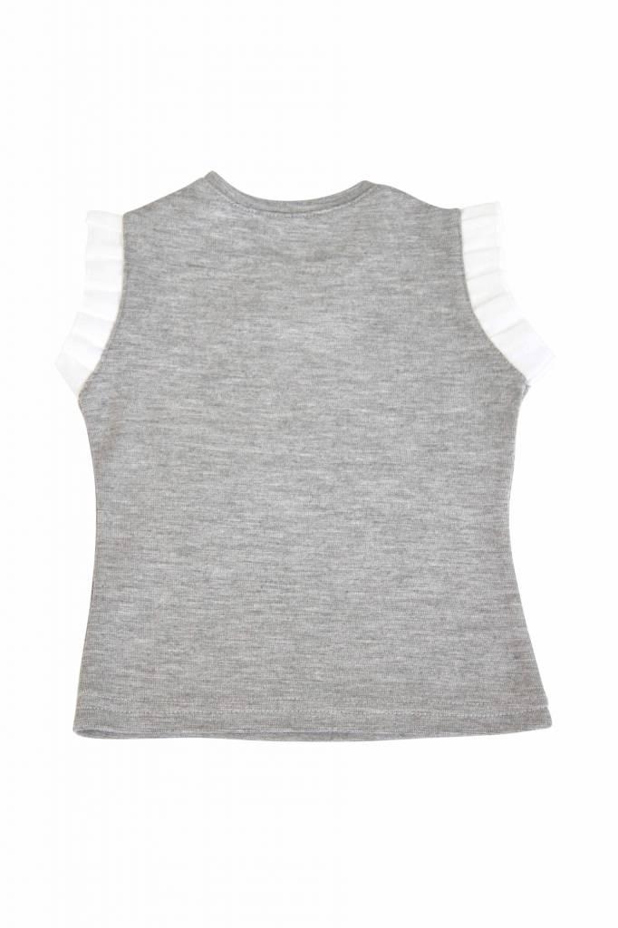 Bow Tie Girls Tee - Grey Melange