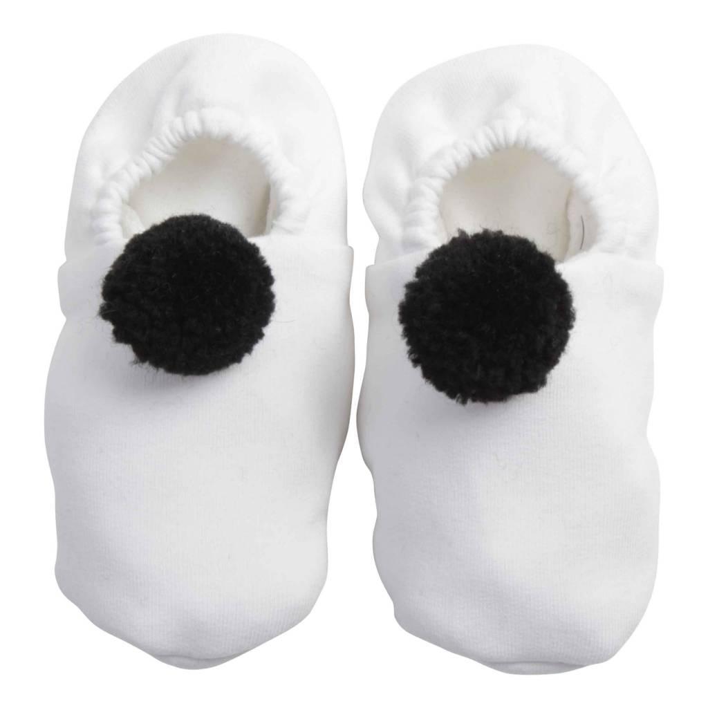 Pom Pom Booties - Black & White