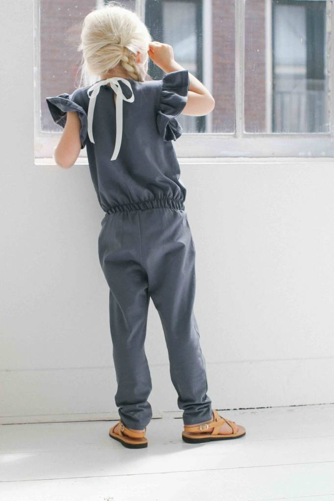 Ruffled Jumpsuit - Vintage Grey (NEW) - House of Jamie Ruffled Sweater House Of Jamie