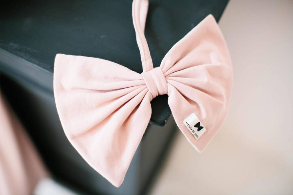 Pacifier Cord Bow Tie - Powder Pink