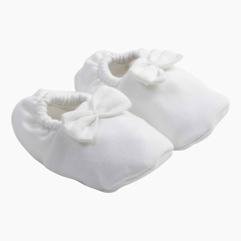 Bow Tie Booties - Snow White