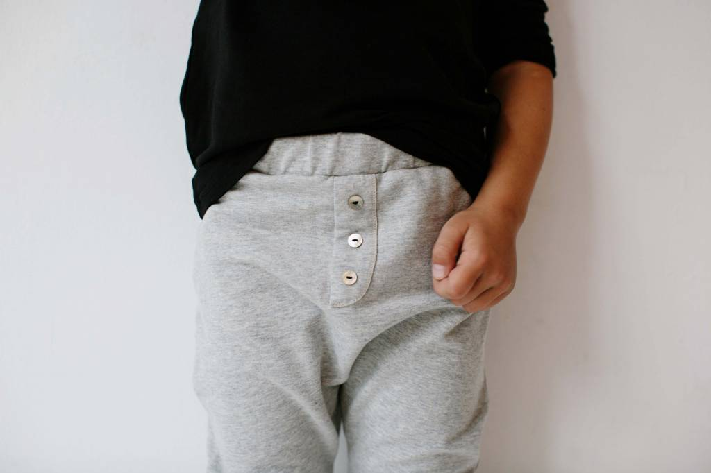 Button Baggy Pants - Stone