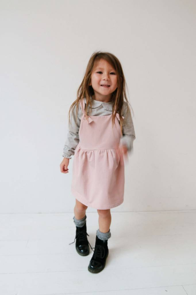 Dungaree Dress - Powder Pink