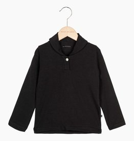 Boys Collar Tee (long sleeve) - Black (NEW)