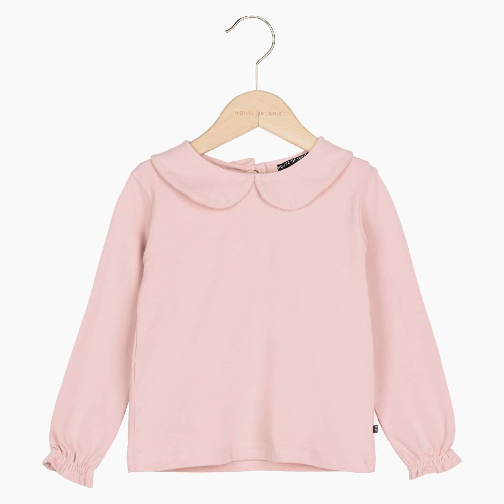 Girls Collar Tee (long sleeve) - Powder Pink