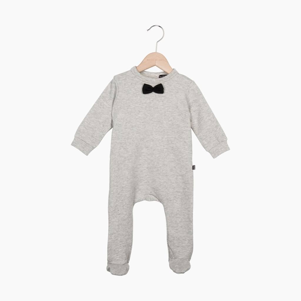 Bow Tie babysuit - Stone