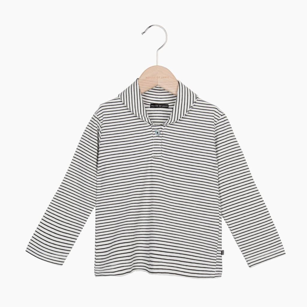 Boys Collar Tee (long sleeve) - Little Stripes