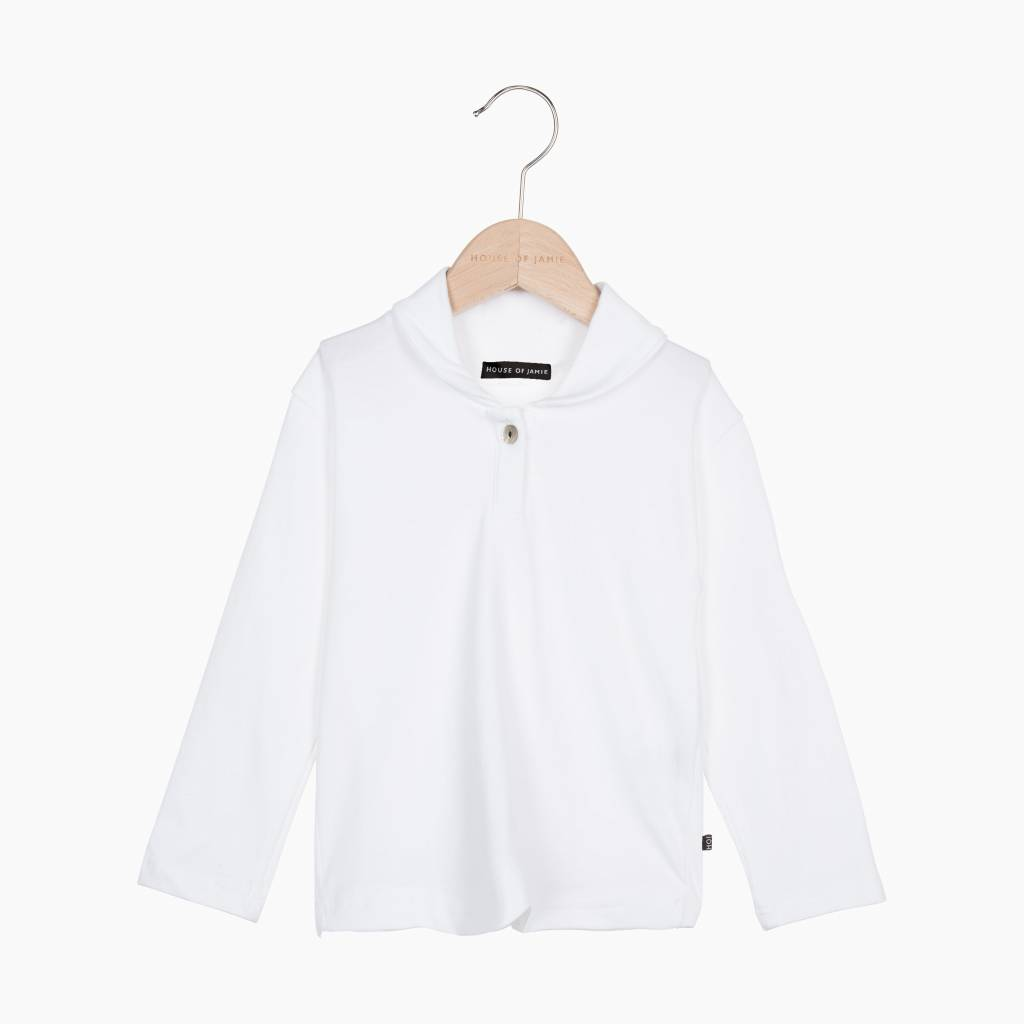Boys Collar Tee (long sleeve) - Snow White