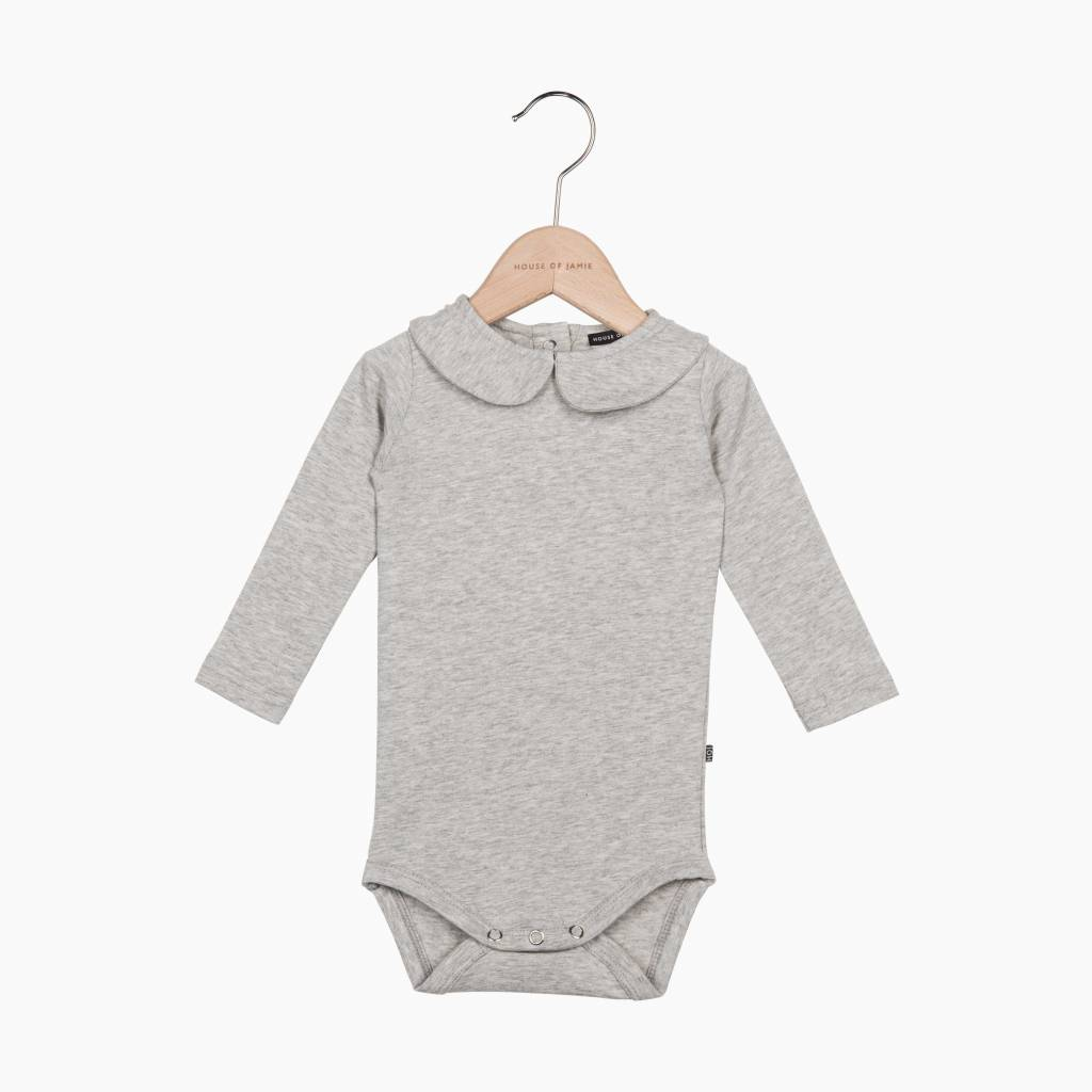 Girls Collar Bodysuit (long sleeve) - Stone