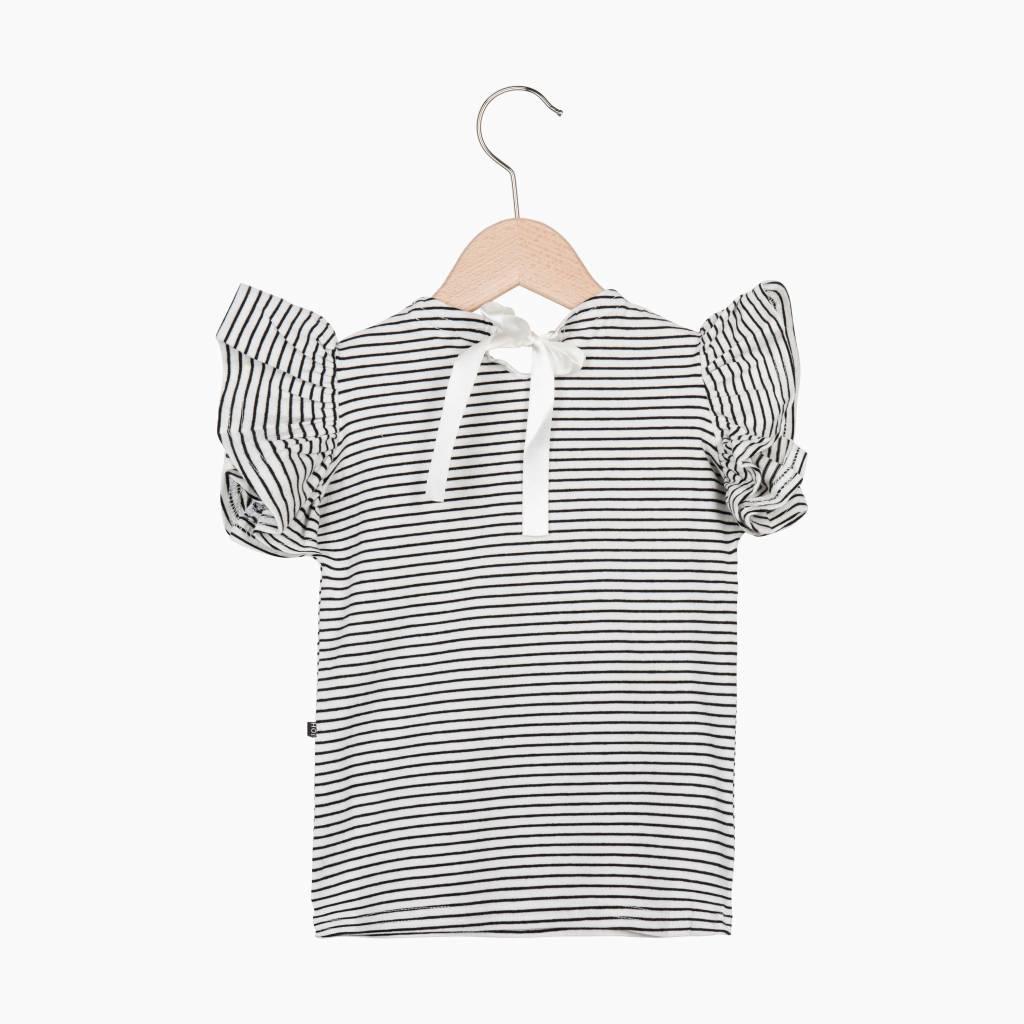 Ruffled Tee - Little Stripes