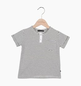 Button Tee - Little Stripes