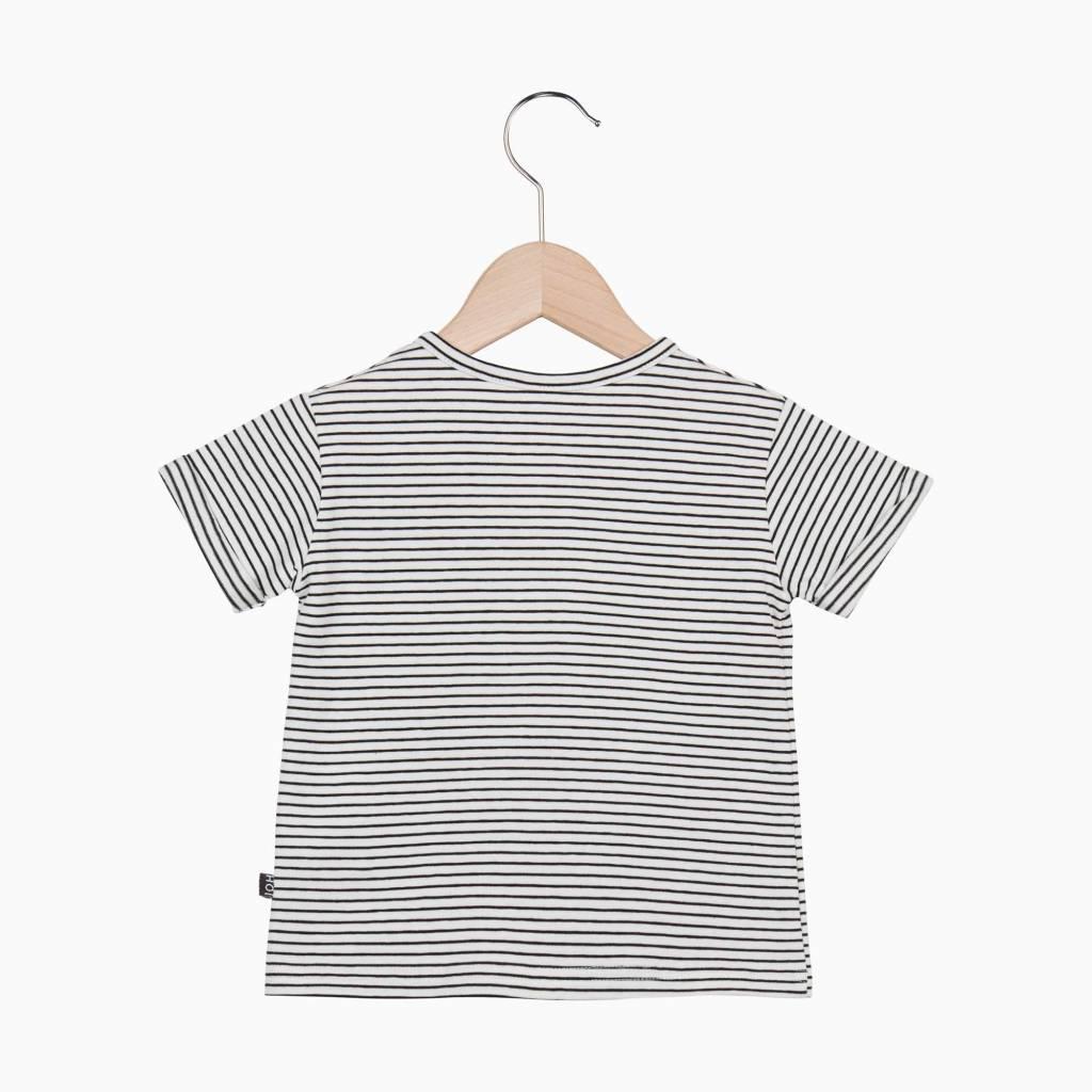 Button Tee - Little Stripes