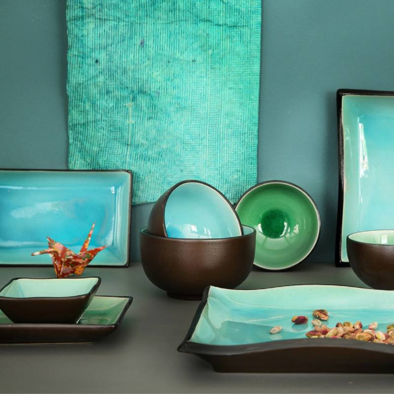 tokyo design studio glassy turquoise 6 teiliges sushi geschirr set f r 2 personen cookdine. Black Bedroom Furniture Sets. Home Design Ideas