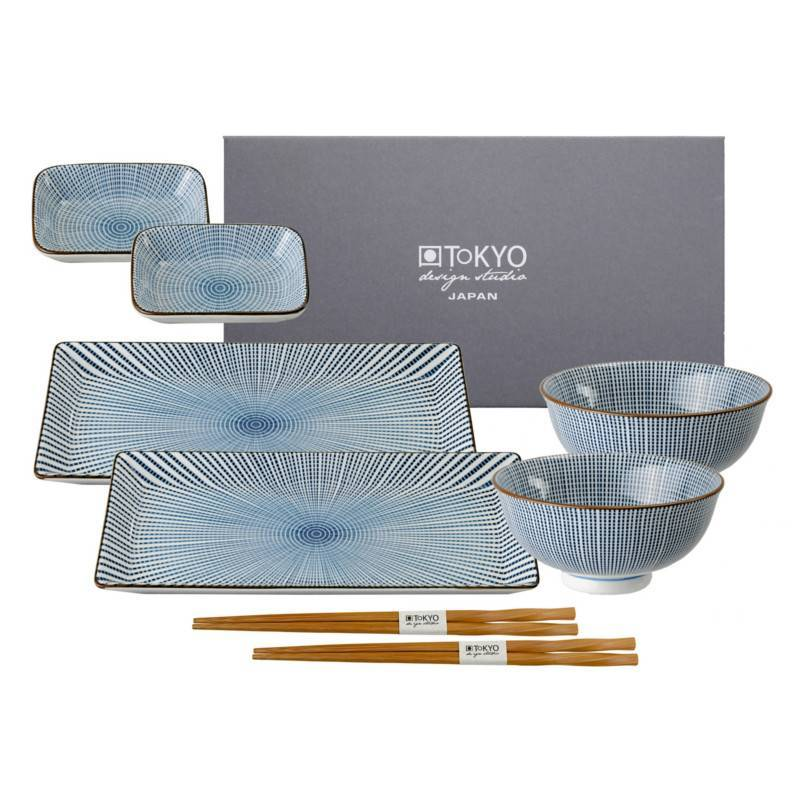 tokyo design studio sendan tokusa blue sushi geschirr set 8 teilig f r 2 personen cookdine. Black Bedroom Furniture Sets. Home Design Ideas