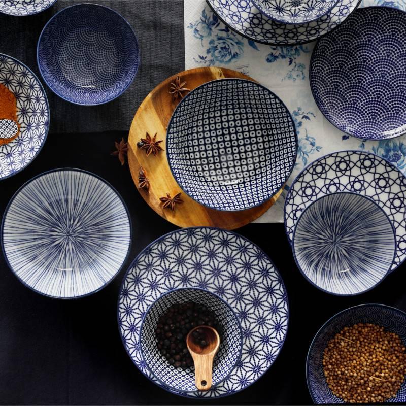 tokyo design studio new nippon blue set van 3 borden 20 6 cm cookdine. Black Bedroom Furniture Sets. Home Design Ideas