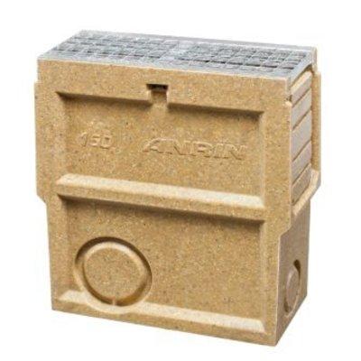 slibvangput voor vloergoot type self-150 met gegalvaniseerd mazenrooster met emmer, 50 cm
