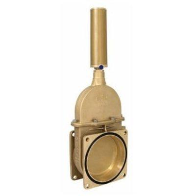RIV messing schuifafsluiter, type 13, 2x flens, inc. dubbelwerkende pneumatische cylinder