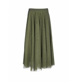 10Days Olive Long Tulle Skirt 16WI105