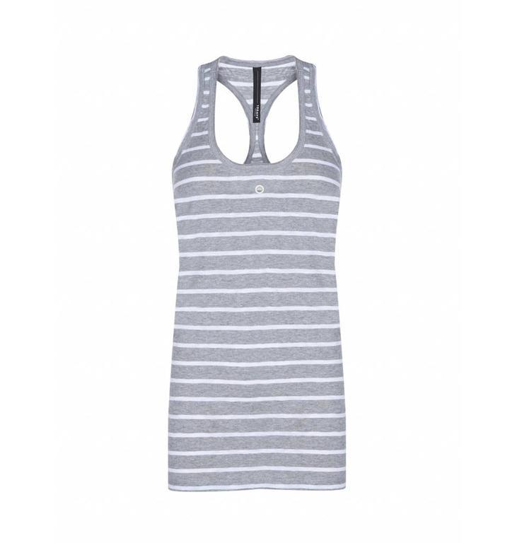 10Days Light Grey Melee /White Singlet Stripe Slub 20.727.7101