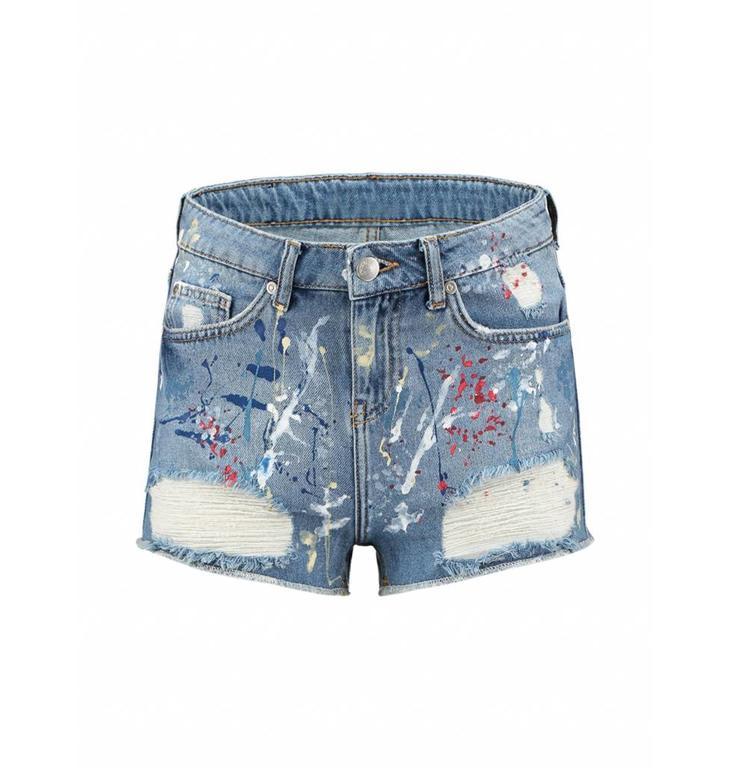 Nikkie Denim Blue Painted Blair Short Jeans N2931