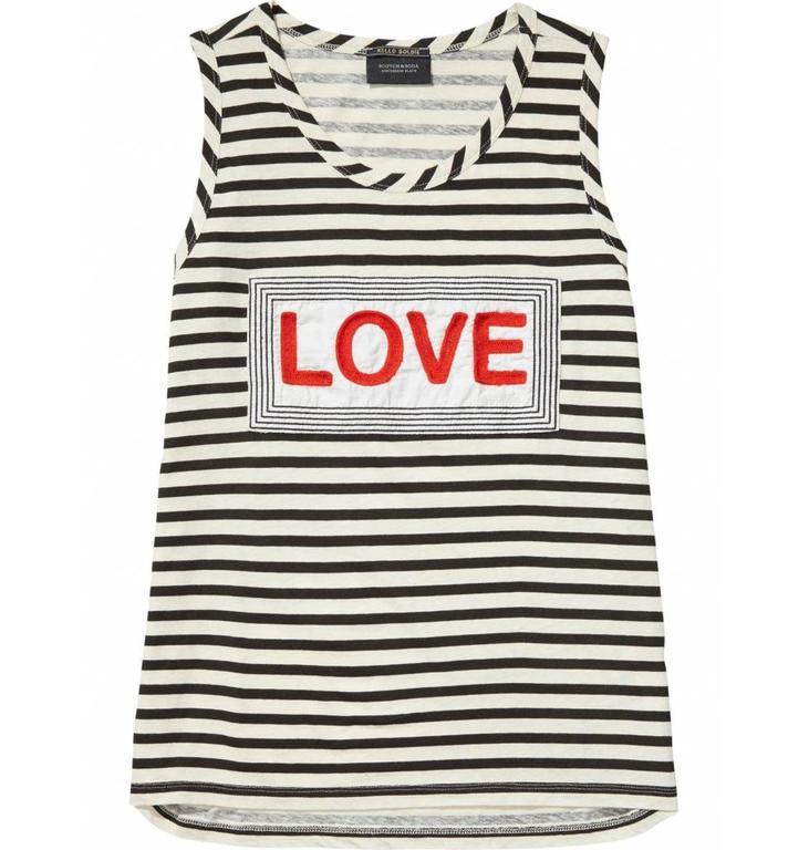 Amsterdam Blauw Black/White Striped Love Top 137366