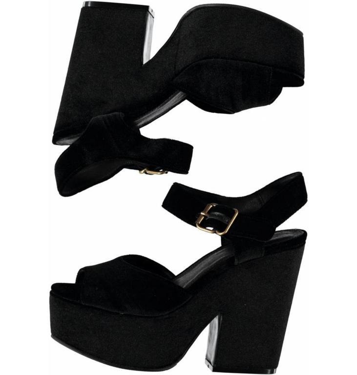 Essentiel Antwerp Black Fancy Velvet Wedges Oletta
