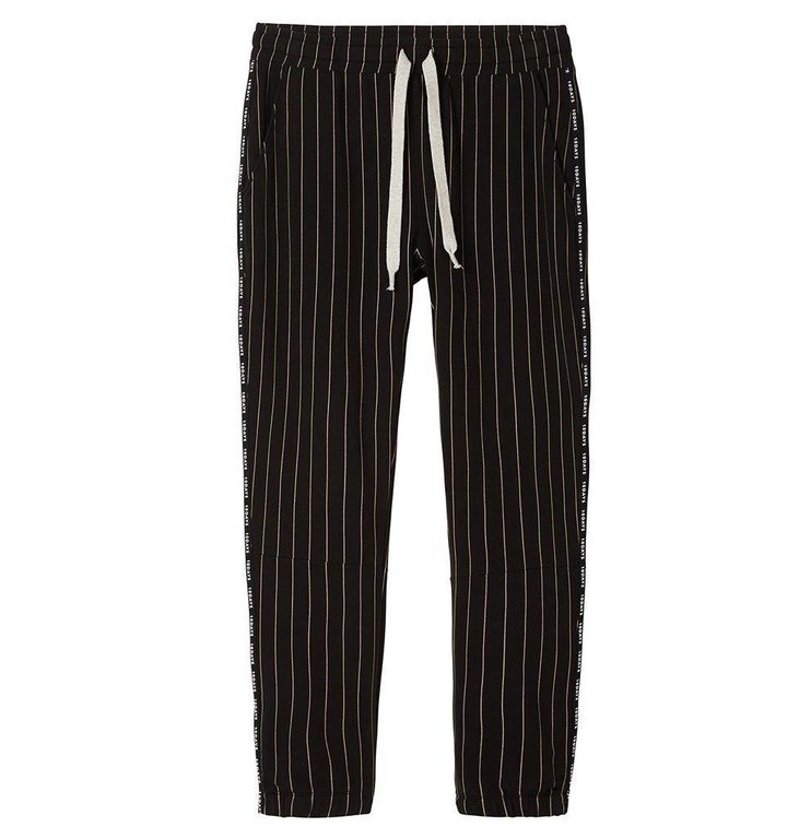 10Days Black Cropped Jogger Pinstripe 20.017.8101