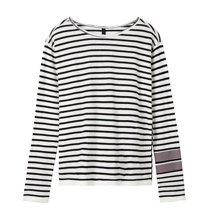 10Days Ecru/Black Longsleeve Tee Stripe 20.777.8101