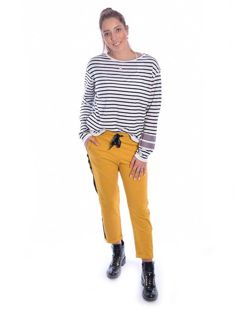 10Days Ecru/Black Longsleeve Tee Stripe 20.777.8101