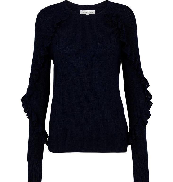 Second Female Navy Sofie Knit Oneck 51084
