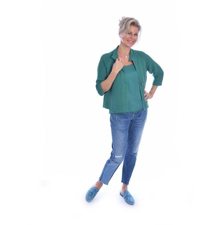 Repeat Green Cardigan 400059