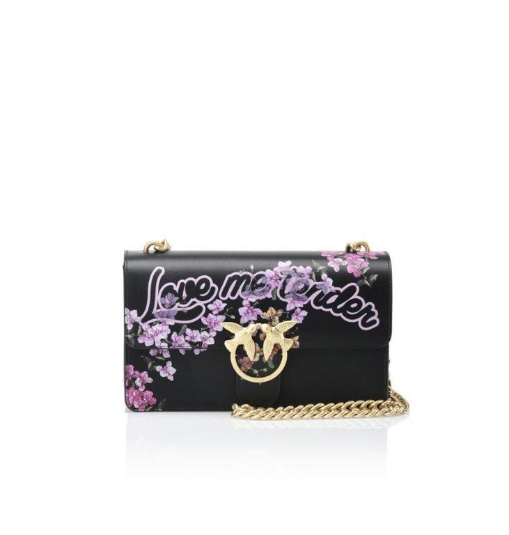 Pinko Black Love Me Tender Flowers Bag 1P2135