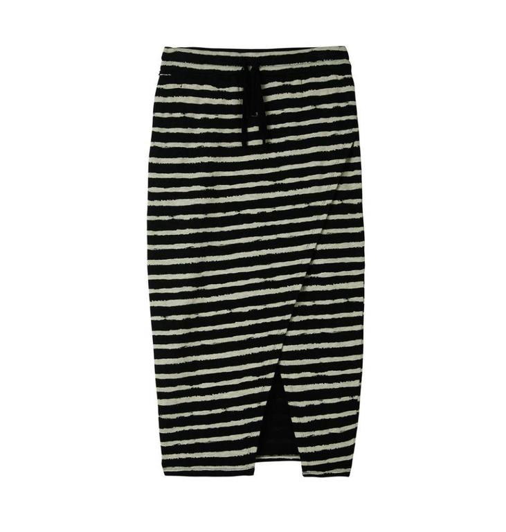 10Days Black Skirt Painted Stripe 20.104.8101