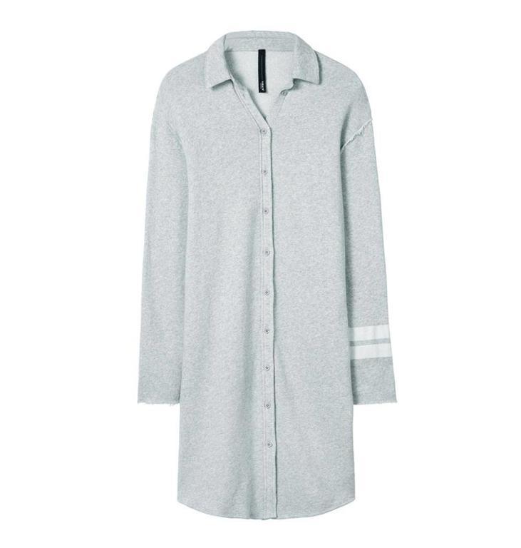 10Days Light Grey Melee Long Shirt Dress 20.342.8101