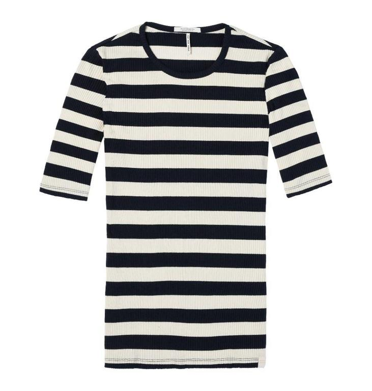 Maison Scotch Black/White Fitted Rib Tee 143745