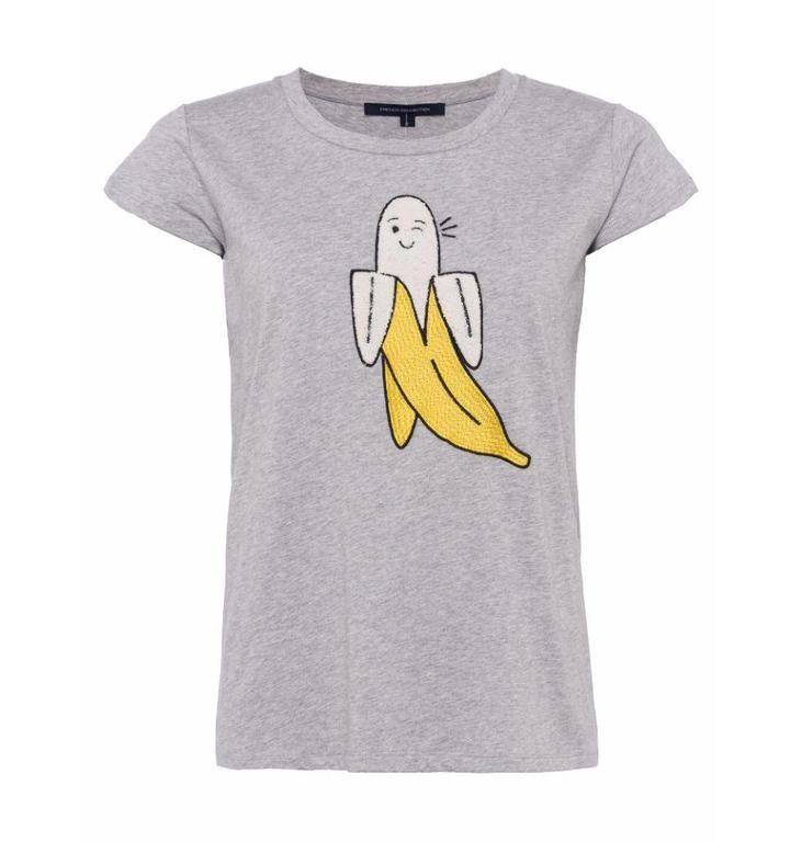 French Connection Light Grey Melee Banana Tee 76JAZ