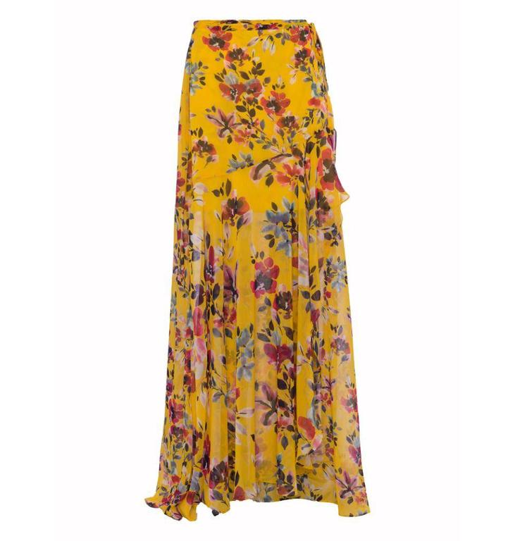 French Connection Yellow Linosa Crinkle Skirt 73JAI
