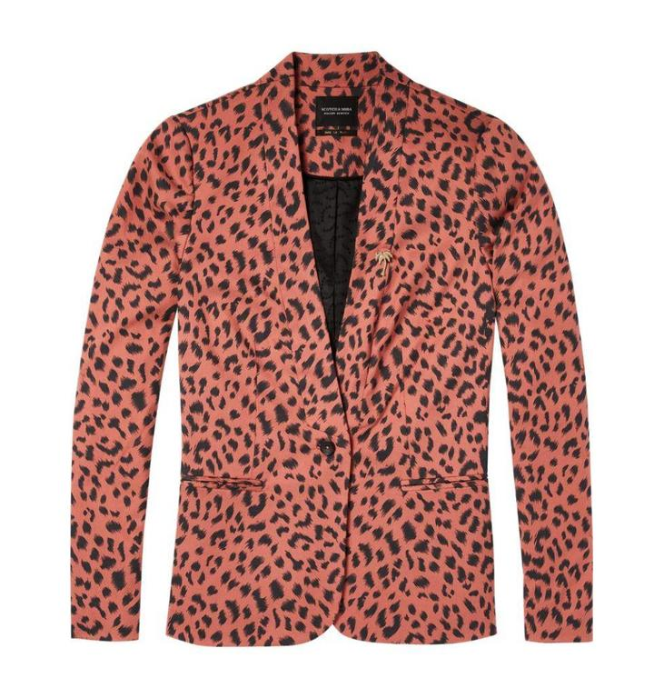 Maison Scotch Leopard Printed Blazer 143649