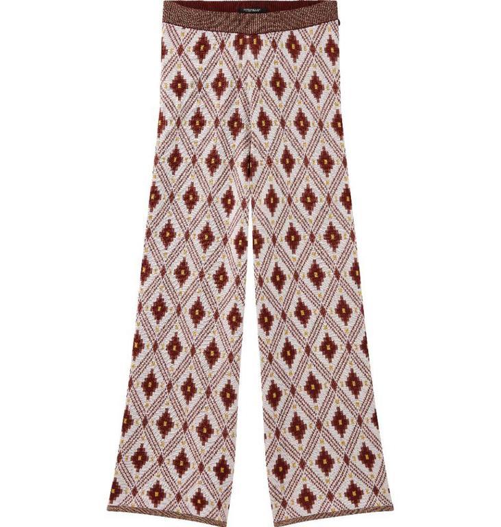 Maison Scotch Multicolour Cropped Wide Leg Knitted Pants 143992